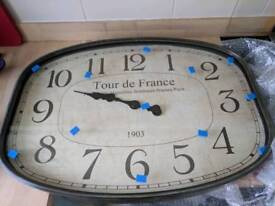 Wall Clock Tour De France Rectangular Antique Style Brand new in box £95 rrp