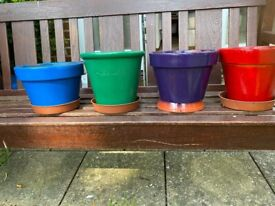 4Brightly Coloured Terracotta Pots