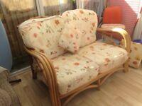 Cane settee& chair