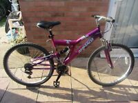 ladies full susspension mountain bike with lock £45.00
