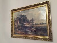 Large John Constable Hay Wain painting reproduction in a frame