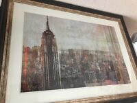 Stunning extra LARGE modern art picture frame NYC skyline GREAT condition from STERLING furniture