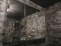 Stainless Steel bathroom cabinet (small crack in door)