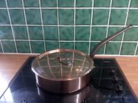 Mauviel Copper Saute Pan with Lid 28cm. Cast Iron Handle