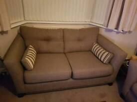 REDUCED: Sofa Sofology (Sofaworks) 2 Seater Beige Fabric Settee