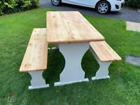 Shabby chic table and benches