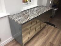 New Marble Sideboard £1300 RRP Living Room Furniture Cupboard Grey