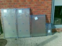 Double Glazing window Frosted glass, 4 panes different sizes, new.