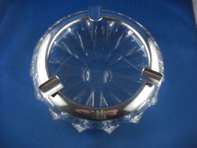 Aschenbecher Zigarren Glas Kristallglas Silbermontur Hermann Bauer 835er Silber