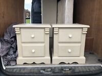 A pair of heavy, painted pine bedside tables in Annie Sloan.