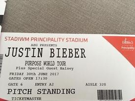 Justin Bieber - 30.6.17 - Principality Stadium - pitch standing - 6 tickets