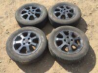 """Vauxhall Corsa / Astra black alloy wheels 15"""" - good tyres"""