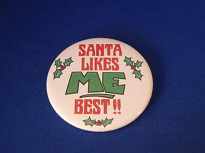 SANTA LIKES ME BEST!! Lot of 12 BUTTONS Christmas pins badges STOCKING