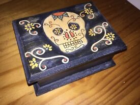 Gothic wooden skull jewellery box