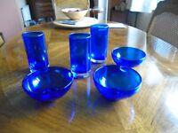Three crystal glasses and matching bowls