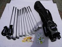 """""""Bullet """" golf clubs. 1,3 &4 Woods,9,8,7,6,5,4 Irons,S Wedge,Pitching Wedge & Putter, Matching bag."""