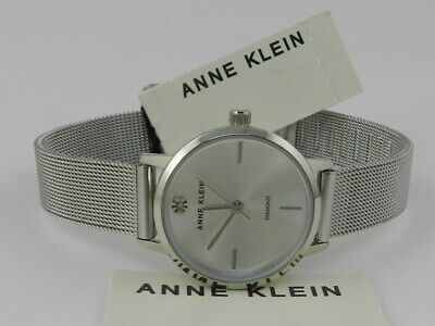 Anne Klein Women's Genuine Diamond Dial Mesh Bracelet Watch AK/3021SVSV