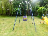 Metal framed swing with baby seat
