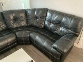 Black Leather 6 Piece Recliner Sofa