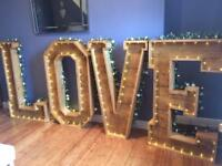 Rustic love letters - light up wedding sign