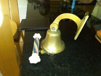 SHIPS SOLID BRASS BELL WITH ROYAL MARINES RINGER CORD