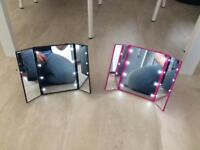 Pink & Black LED Love Heart Mirrors