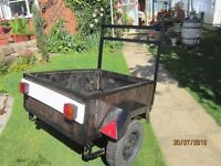 SALE!! REDUCED!! TRAILER 4'X3' LEAF SPRINGS CAN CARRY HALF A TON, WORKING LIGHT BOARD