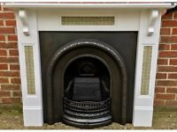 Victorian Style Arched Fireplace - Cast Iron With Wooden & Tiled Painted Surround