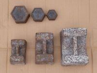 3 antique Victorian cast iron weights + 3 modern weights