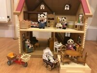 Sylvanian Families House, Furniture and Panda Family