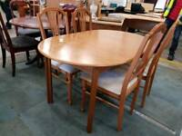 Oval extendable table and four chairs