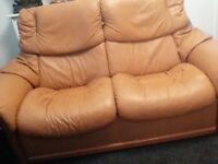 Leather sofa and chair ( stress less )