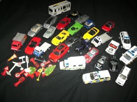 BOX OF TOY CARS, TRACTOR,POLICE CARS, AMBULANCE, SIGNS