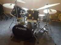 SONOR drum kit inc. Kick pedal and cymbals