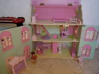 Beautiful wooden dolls house and accessories