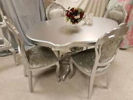 Silver Italian table and 4 chairs