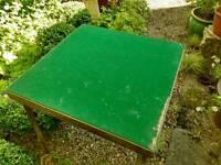 Vintage folding card table baize top