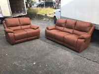 Designer Harveys 3 and 2 Seater Sofa Set Tan Brown Suede Fabric Leatherette Manual Recliner