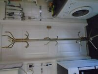 Brass coat and hat stand.