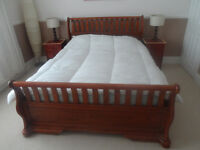 SOLID WOOD SLEIGH BED BROWN CHERRY WOOD COLOUR KING SIZE