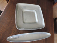 2 Modern Cast Metal Dishes