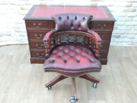 Dark stylish captains desk + captains chesterfield chair SET (Delivery)