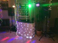 Gorilla DJ Booth, Overhead gantry, Black star Cloth , White Scrim, Heavy Duty Bag