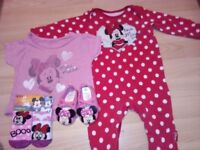 Baby Girl Minnie Mouse-clothes & pair of shoes 3/6 months and sockets 0/6 months