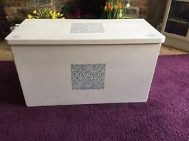 Storage Chest updated and painted with stencil motif