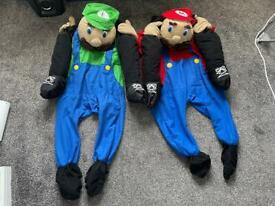 Mario & Luigi Nintendo 80s/90s piggyback fancy dress costume outfit