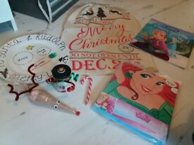 Christmas eve sack; pyjamas, book, reindeer dust, personalised plate, candy cane, hot chocolate cone