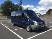 Ford transit 2.4 tdci rear wheel drive minibus 15 seater low miles only 51k 12 mth Mot ready to go