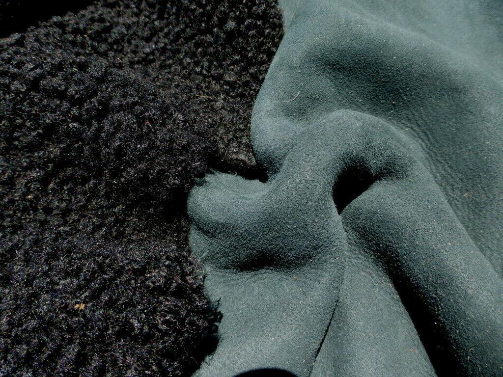 sheepskin shearling leather hide Ultrathin Jet Black tight curly hair
