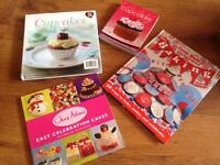 Collection of baking , cupcakes books